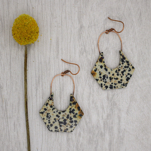 Dalmatian Jasper and Copper Earrings