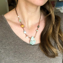Load image into Gallery viewer, Raw Emerald Asymmetrical Necklace
