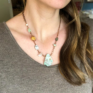 Raw Emerald Asymmetrical Necklace