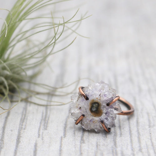 Amethyst Stalactite Prong Set Copper Ring
