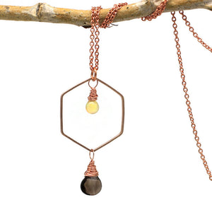 Ethiopian Opal and Smoky Quartz Necklace