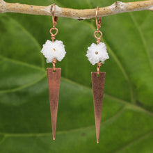 Load image into Gallery viewer, Solar Quartz and Copper Triangle Earrings