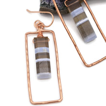 Load image into Gallery viewer, Blue Opal Rectangular Copper Earrings