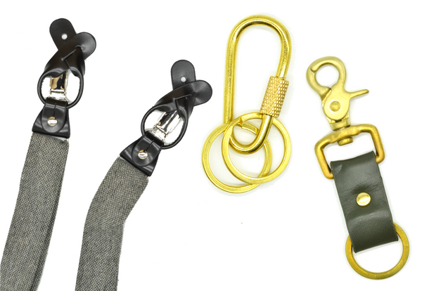 Grey charcoal wool suspenders, brass carabiner keychain, leather and brass keychain