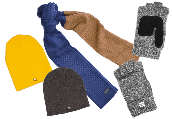PDL toques in yellow and grey; two-tone honeycomb knitted Mongolian wool scarf; grey marled fingerless gloves with leather palm