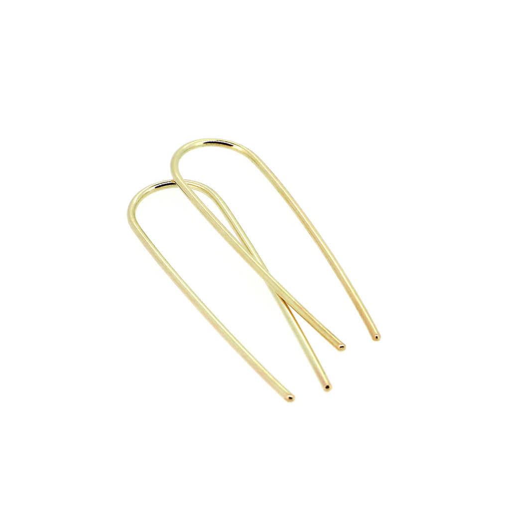 Gold Magnetic Field hook earrings (large)