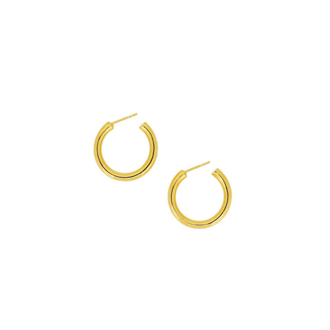 Gold Square Tube Hoop Earrings