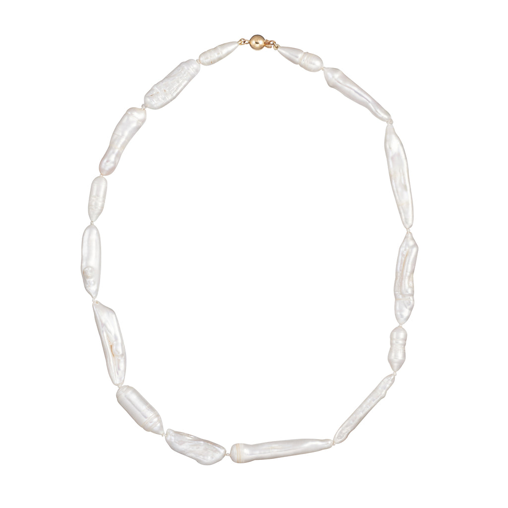 Elongated Pearl Choker - 9ct Gold