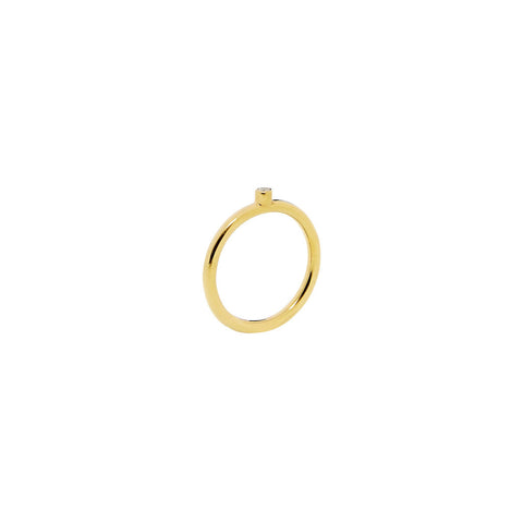 Gold Una Estrella Ring with Diamond