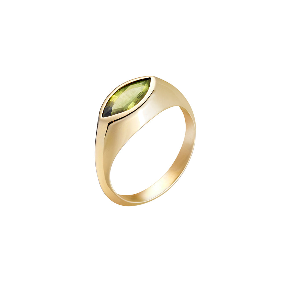 Gold Marquise Ring - large stone