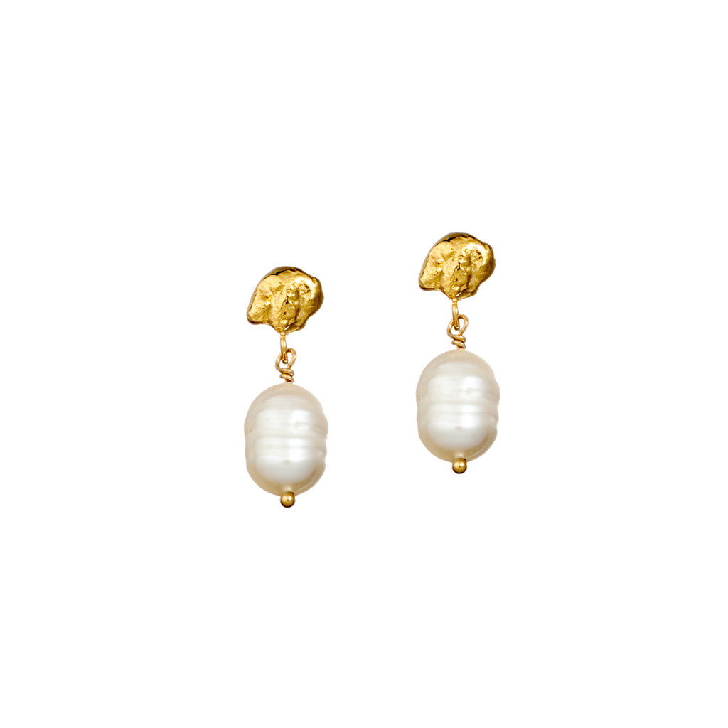 Meteor Tear Drop Pearl Earrings