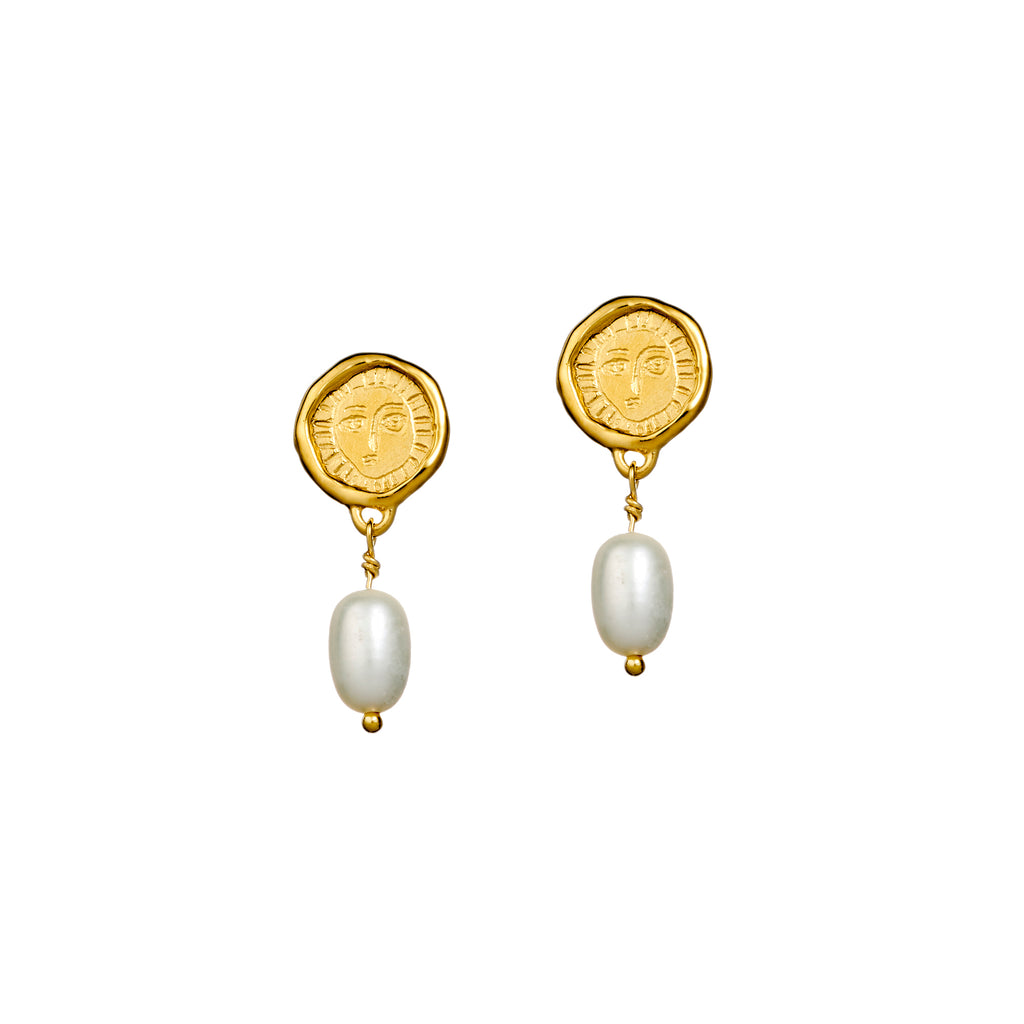 Mini Gold Plated Picasso & Pearl Drop earrings