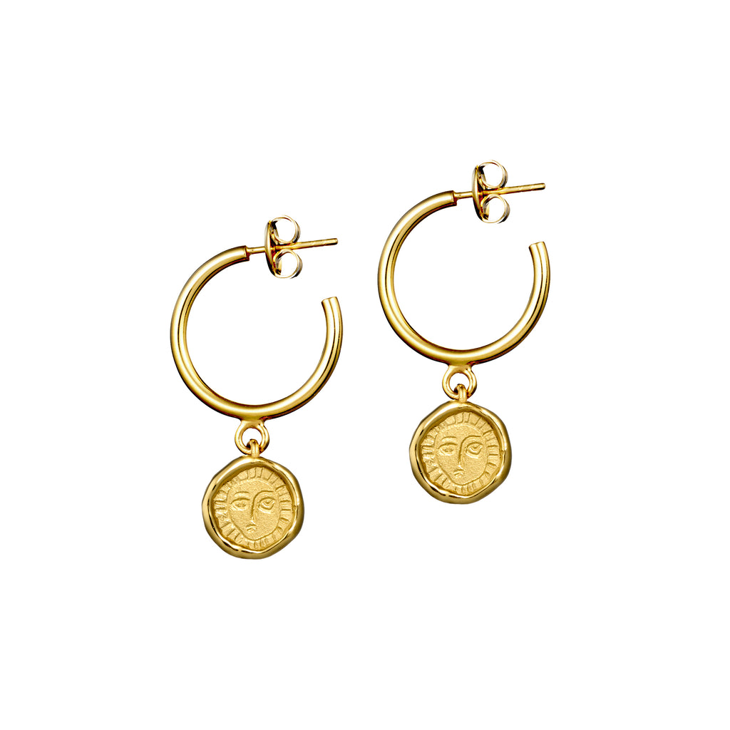 Gold Picasso Hoop Drop Earrings