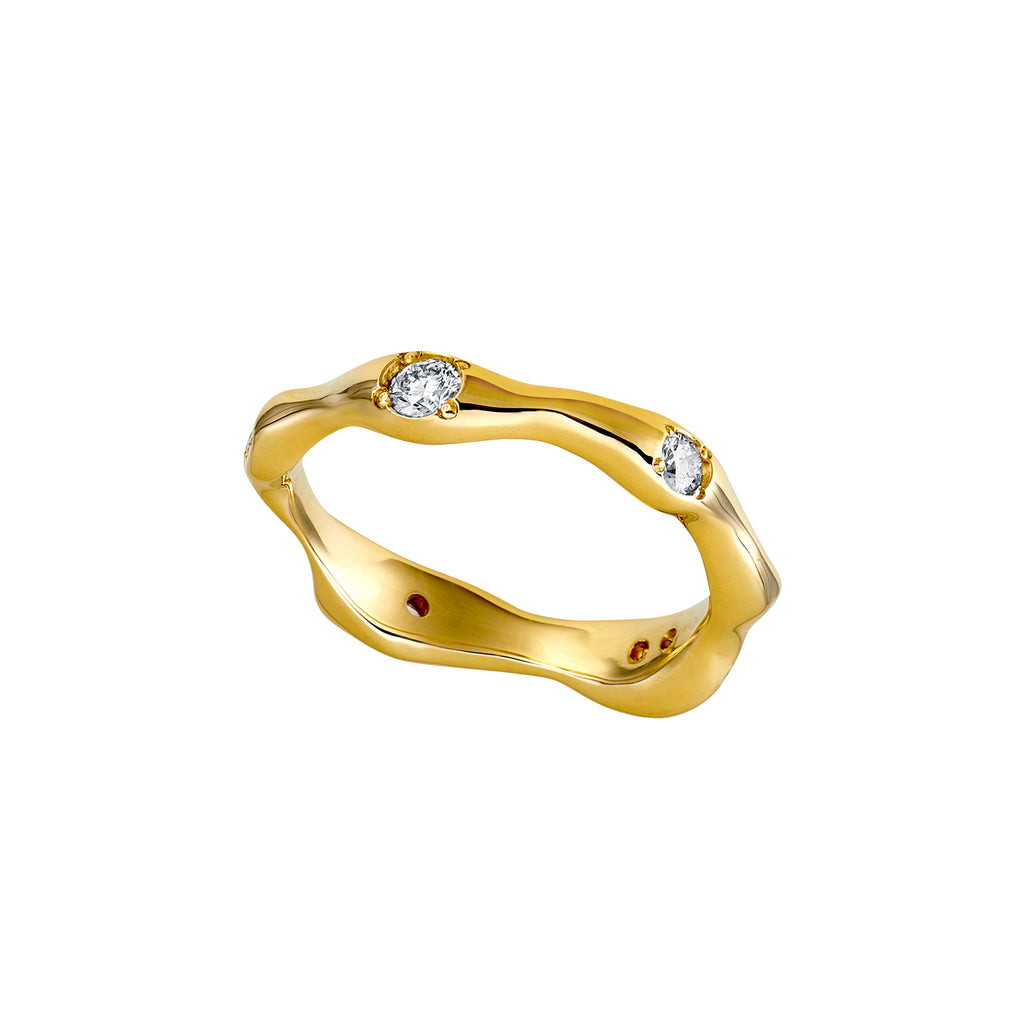 Gold Wabi Sabi Ring with Diamonds