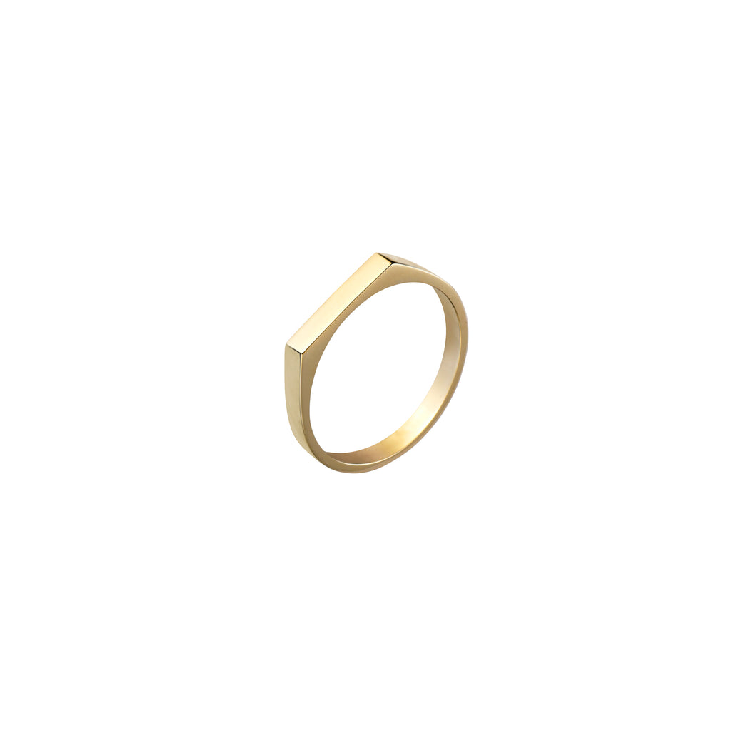 Gold Fine Rectangle Signet Ring