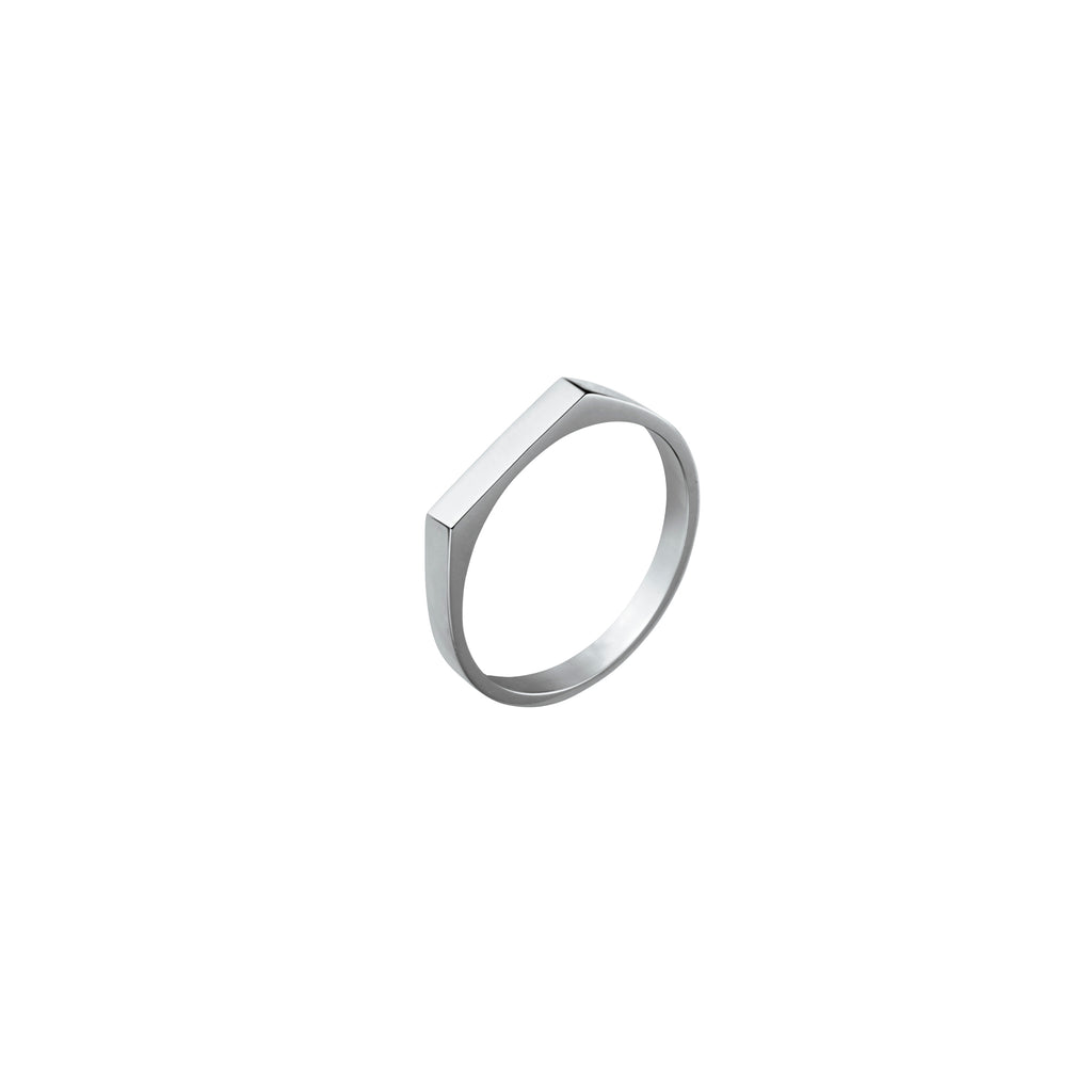Silver Fine Rectangle Signet Ring