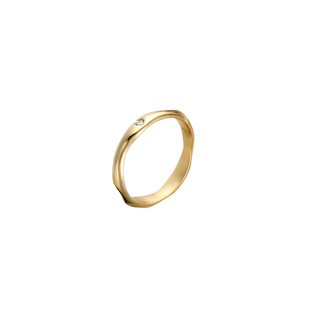 Gold Organic Wabi Sabi Ring with 3 Diamonds