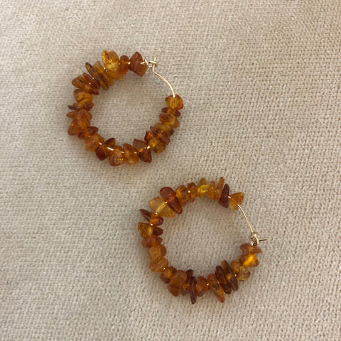 Keshi Pearl Gold Nugget Hoops