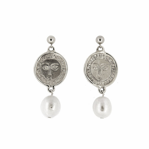 Silver Picasso & Pearl Drop Earrings