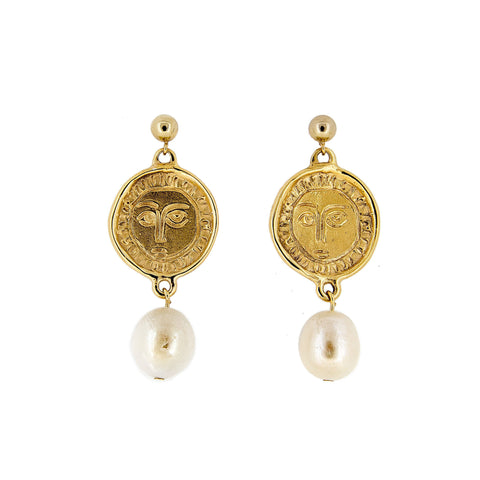 Gold Plated Picasso & Pearl Drop earrings