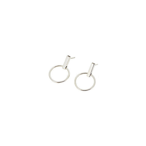 Silver Loop & Stone stud Earring (Single)