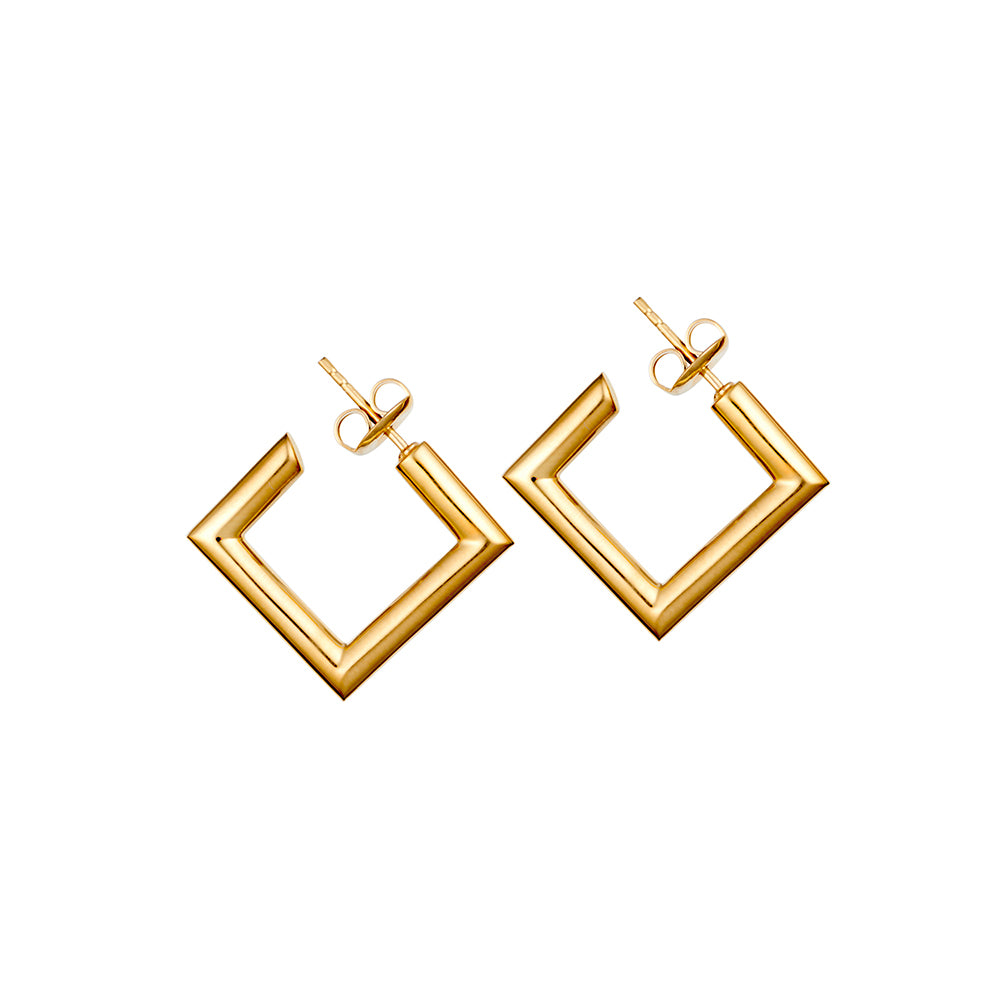 Mini Gold Square Tube Hoop Earrings