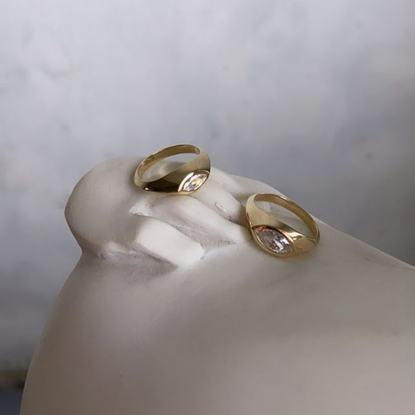 Gold Marquise Ring - Small stone