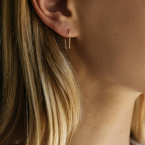 Silver Mini Elongated Squiggle Earrings