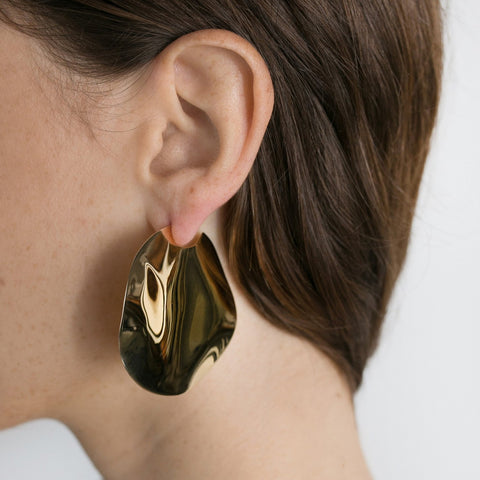 Gold Plated Mini Elongated Squiggle Earrings