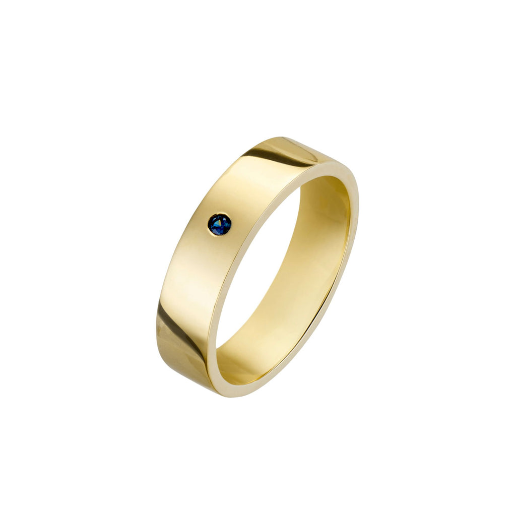 Mens Gold Wide Band Stacker With Sapphire