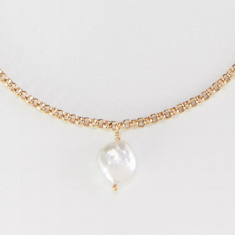 Gold Pearl Charm Anklet