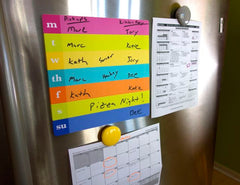 Calendar central on a stainless fridge