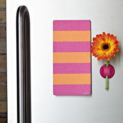 Lulalu List Pad Weekly Warm Stripes on Stainless Steel Fridge