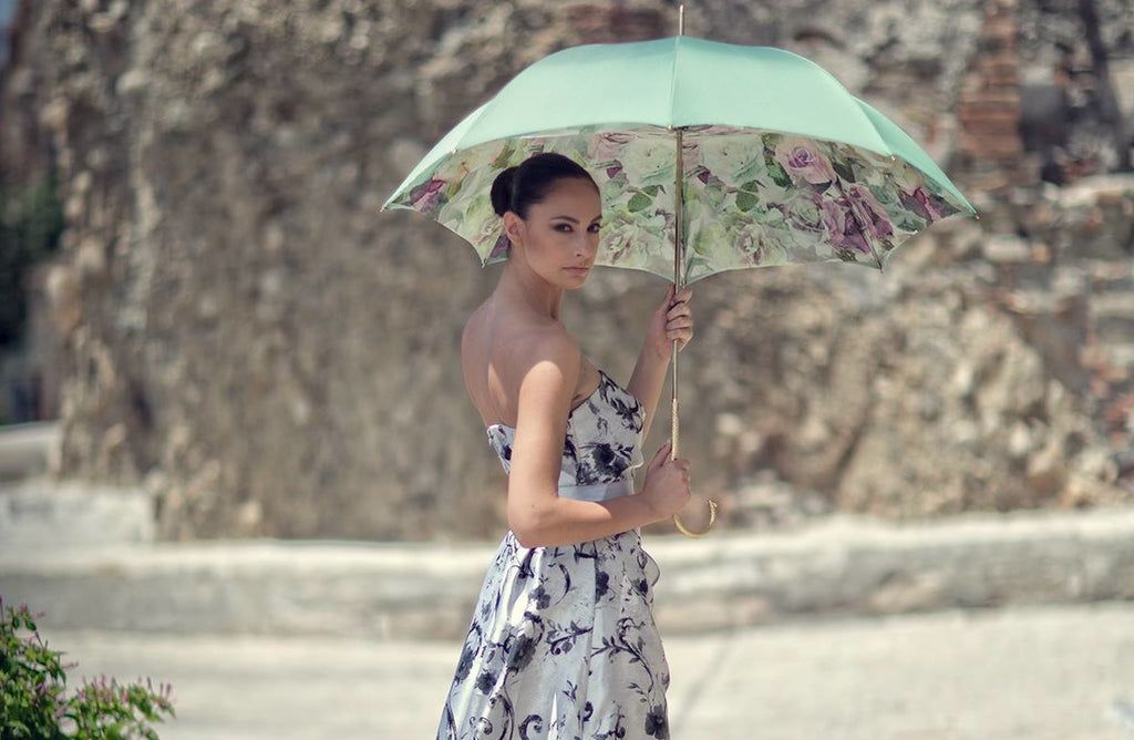 Pasotti Ombrelli - Mint Green Flowered Umbrella