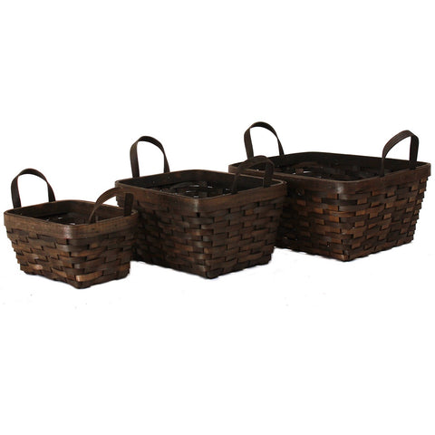 Dark Brown Rectangular Basket