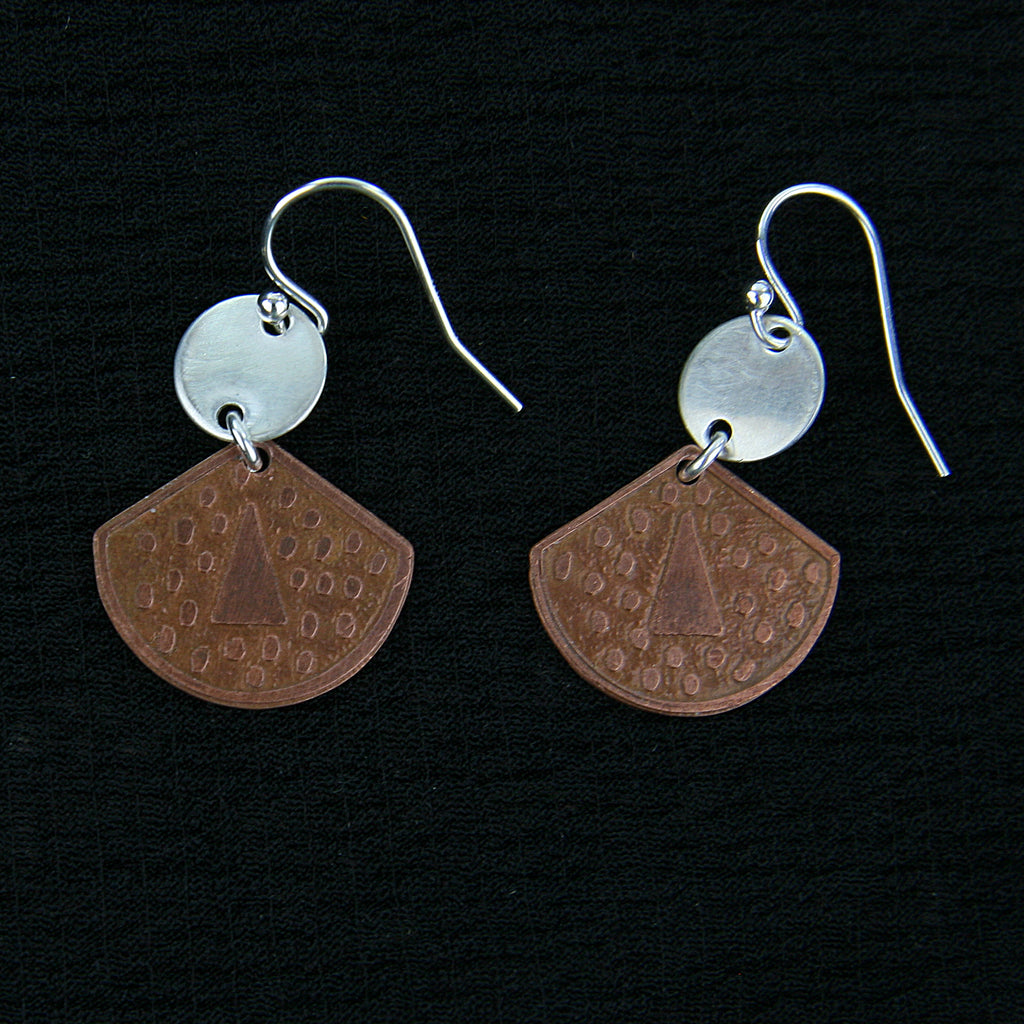 Fan Copper & Silver Earrings