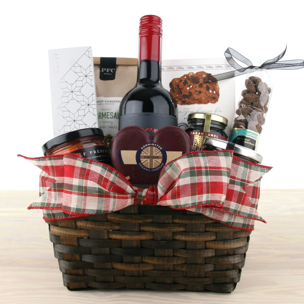 Festive Wine & Cheese Christmas Gift Basket
