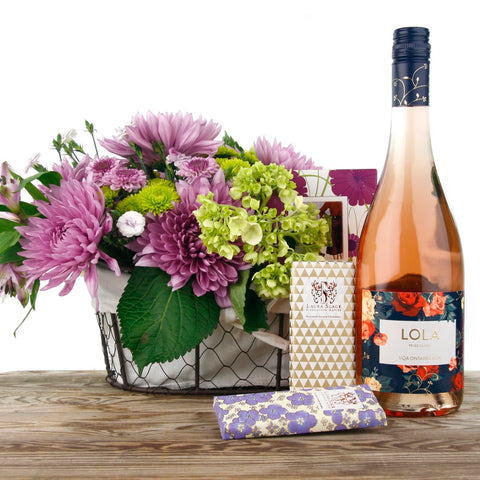 Just for You Flower and Wine Gift Basket