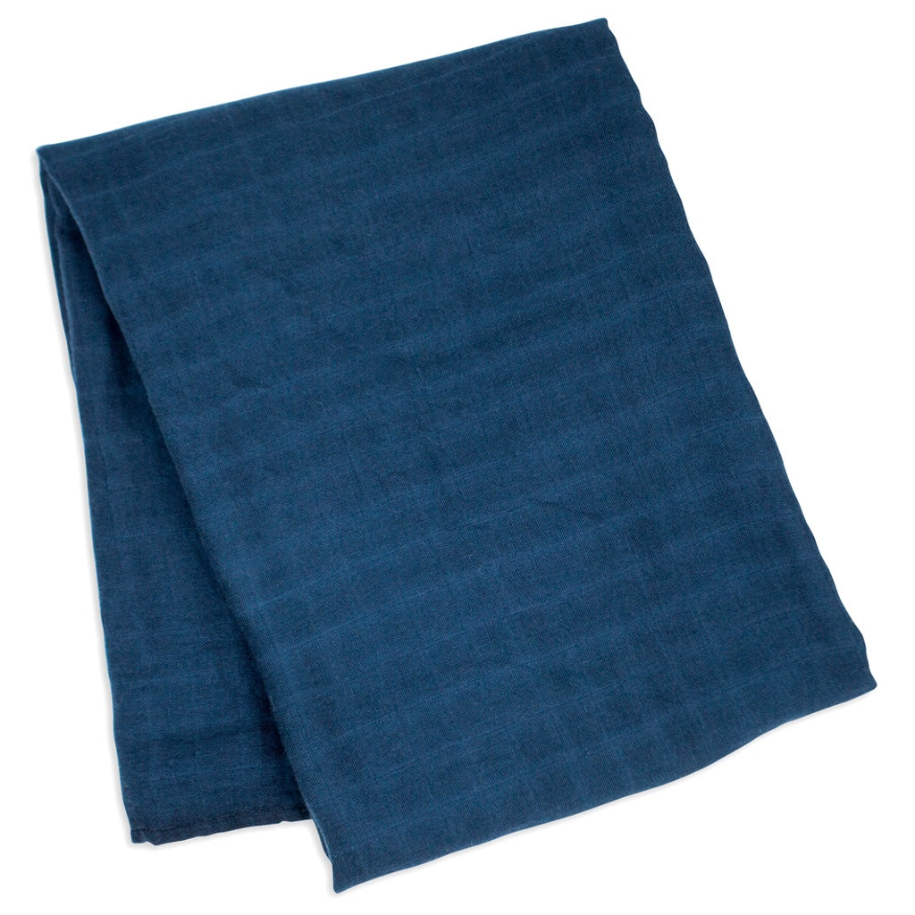 Navy bamboo cotton swaddle blanket