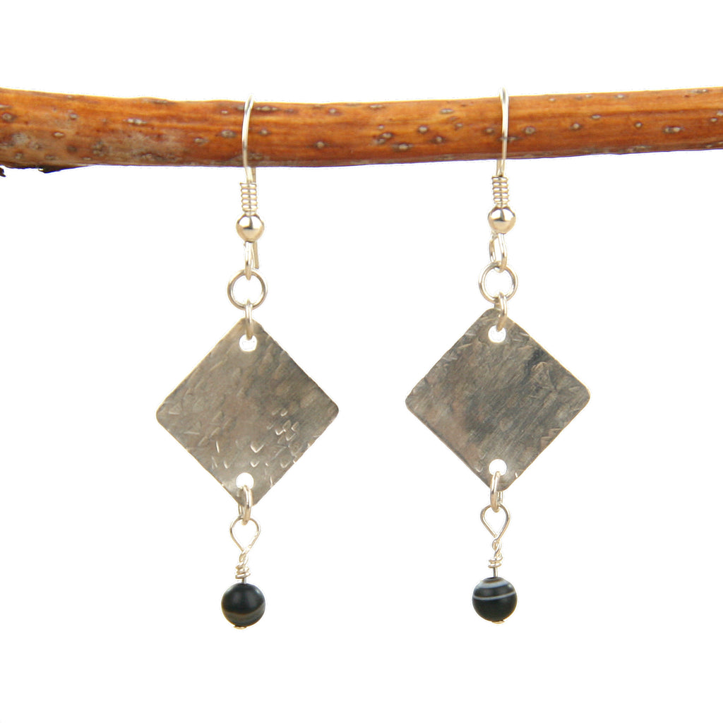 Silver Earrings With Agate Stones