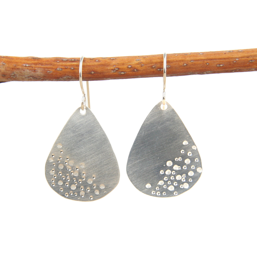 Stamped Teardrop Silver Earrings