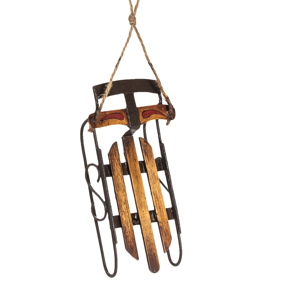 Old-Style Wooden Sleigh Ornament