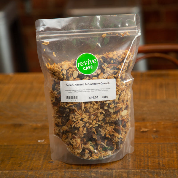 Revive Muesli - Pecan, Almond & Cranberry Crunch 600g - Revive Vegan Cafe