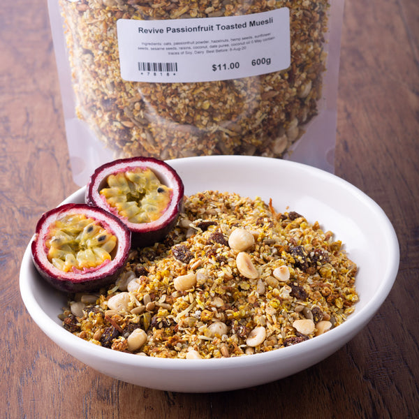 Revive Muesli - Passionfruit, Hemp & Hazelnut 600g - Revive Vegan Cafe