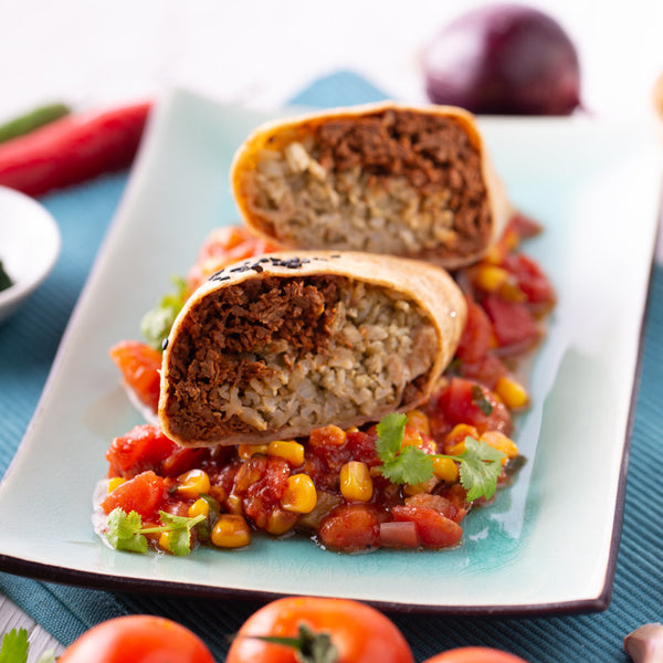 Reheat Meal: Baby Got No Beef Burrito w Charred Corn Salsa (G) - Revive Cafe
