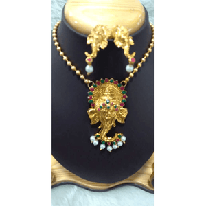 Gold polish copper peacock pendant & Jhumka