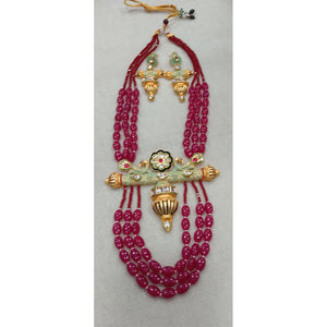 Ethnic Colored Beads With Meenakari Kundan Pendant Set
