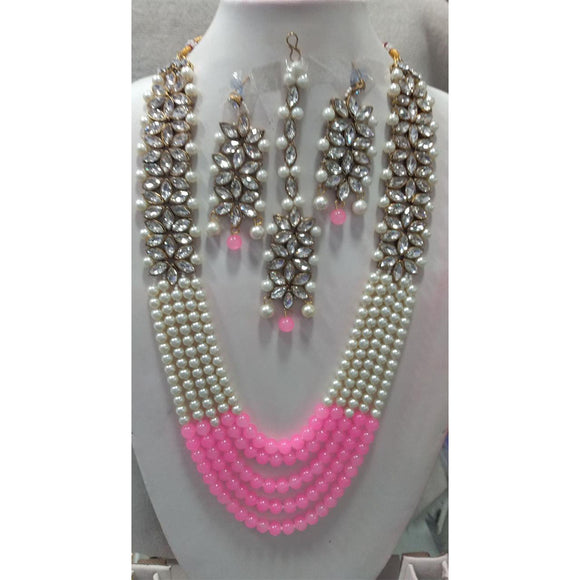Kundan Set With Pearl And Color Bead Combination