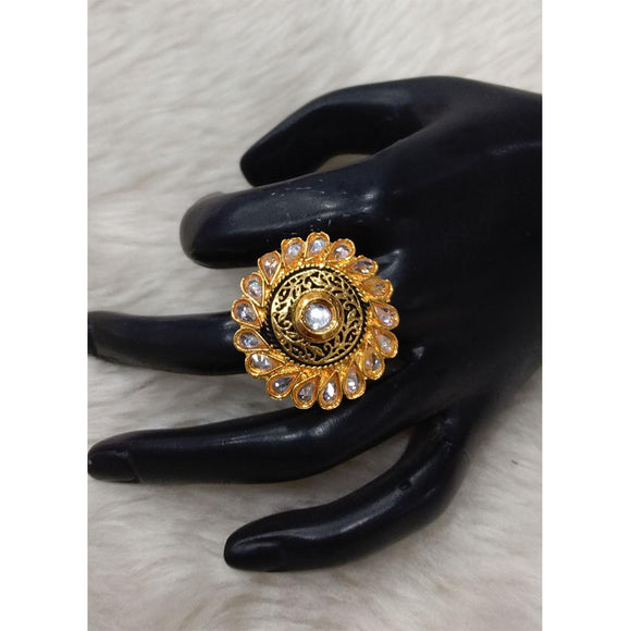 Adjustable Menakari Kundan Finger Ring