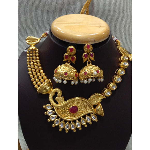 Gold Finish Kundan Moti Set